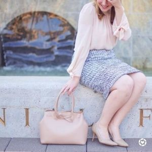 Ann Taylor Grid Fringe Tweed Skirt Office Work